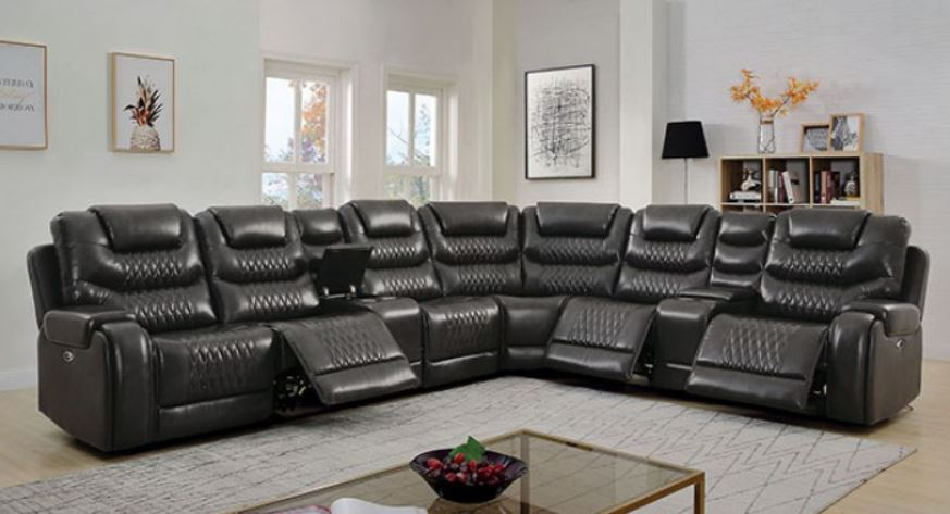 Gray Sectional w/ Recliner