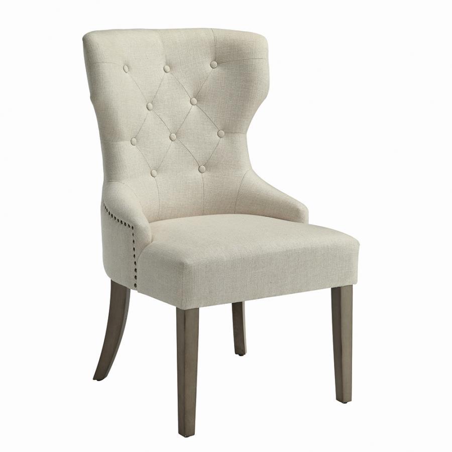 Beige Nailhead Trim Side Chair