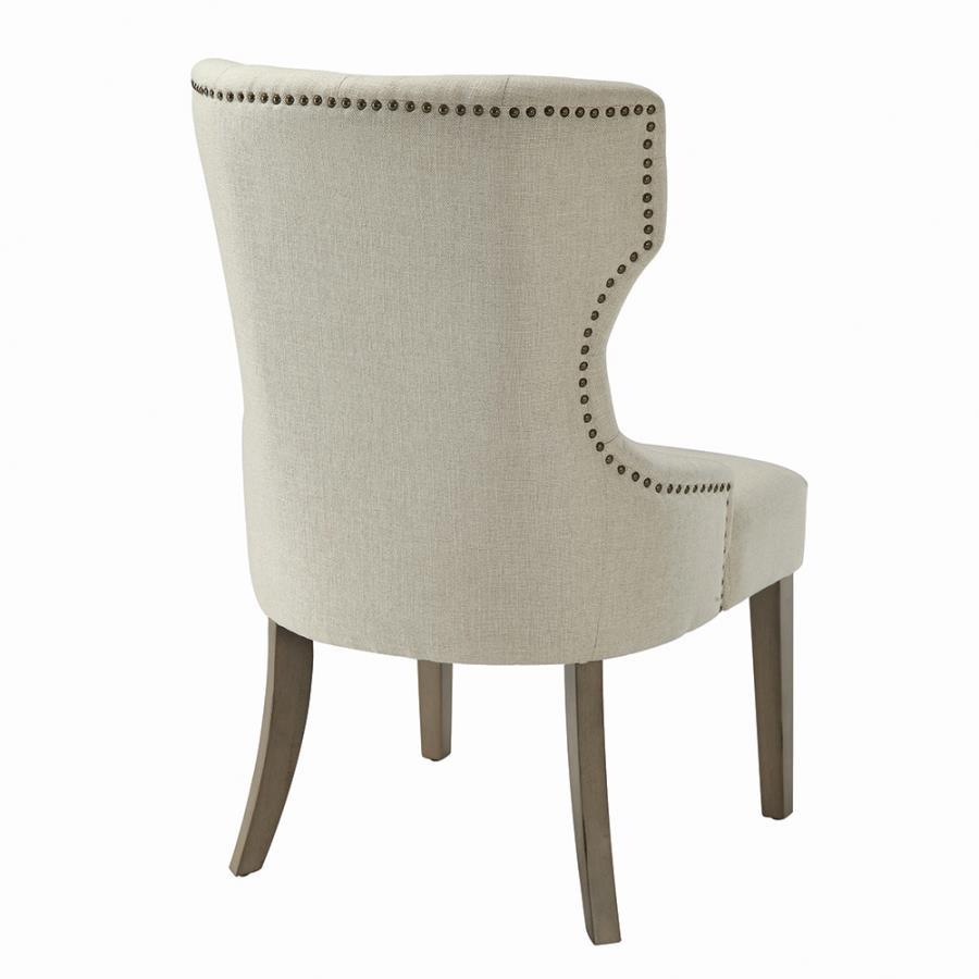 Beige Nailhead Trim Side Chair Back
