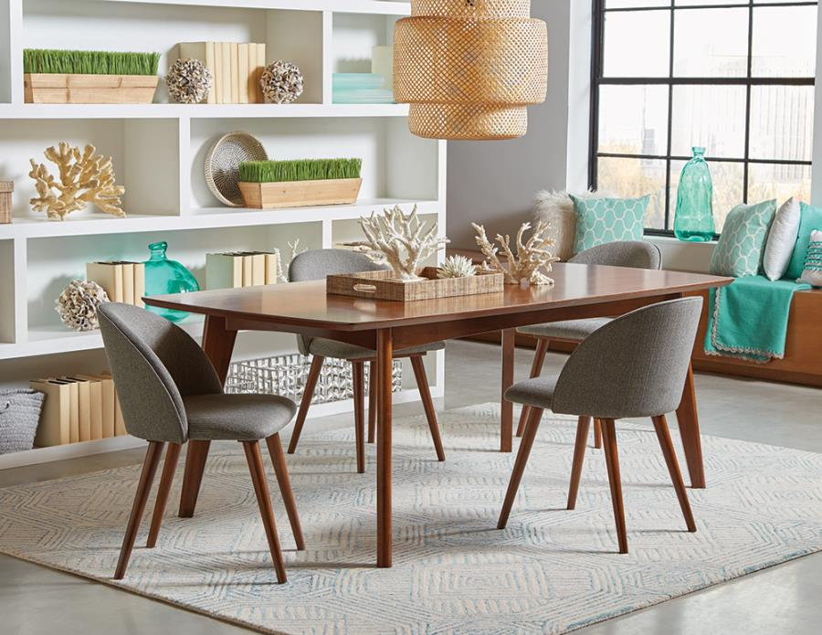 Complete Dining Table Set w/ Grey Fabric Side Chairs