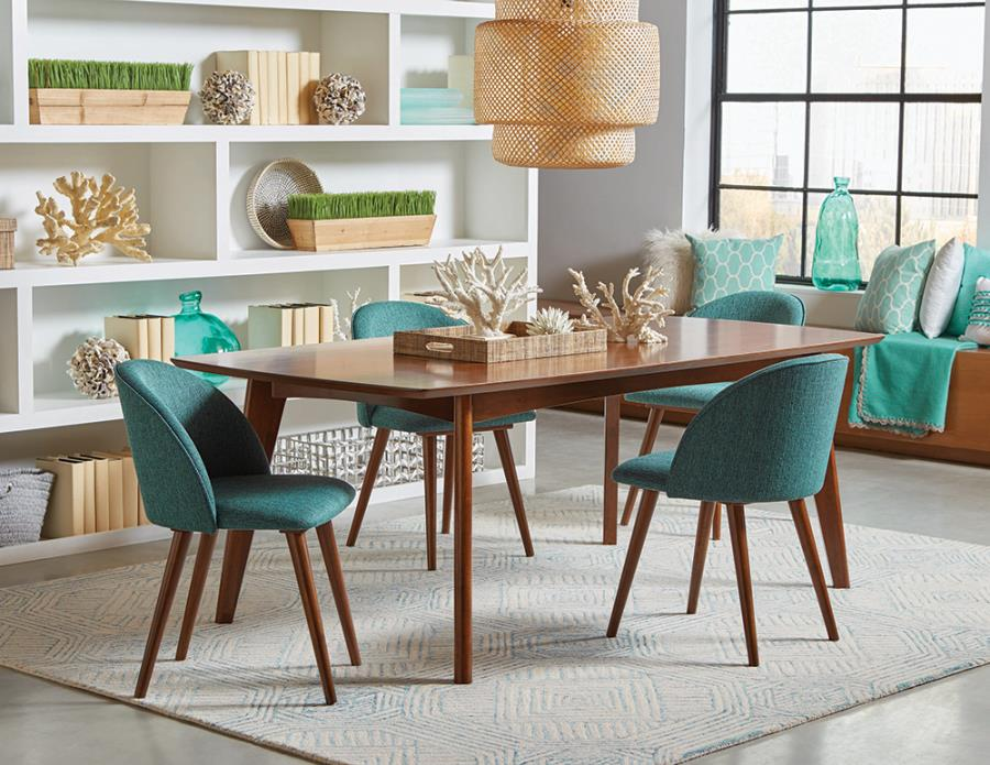 Complete Dining Table Set w/ Teal Fabric Side Chairs