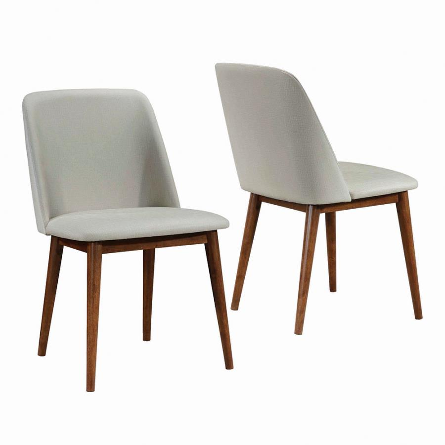 Tan Leatherette Side Chair Front & Back