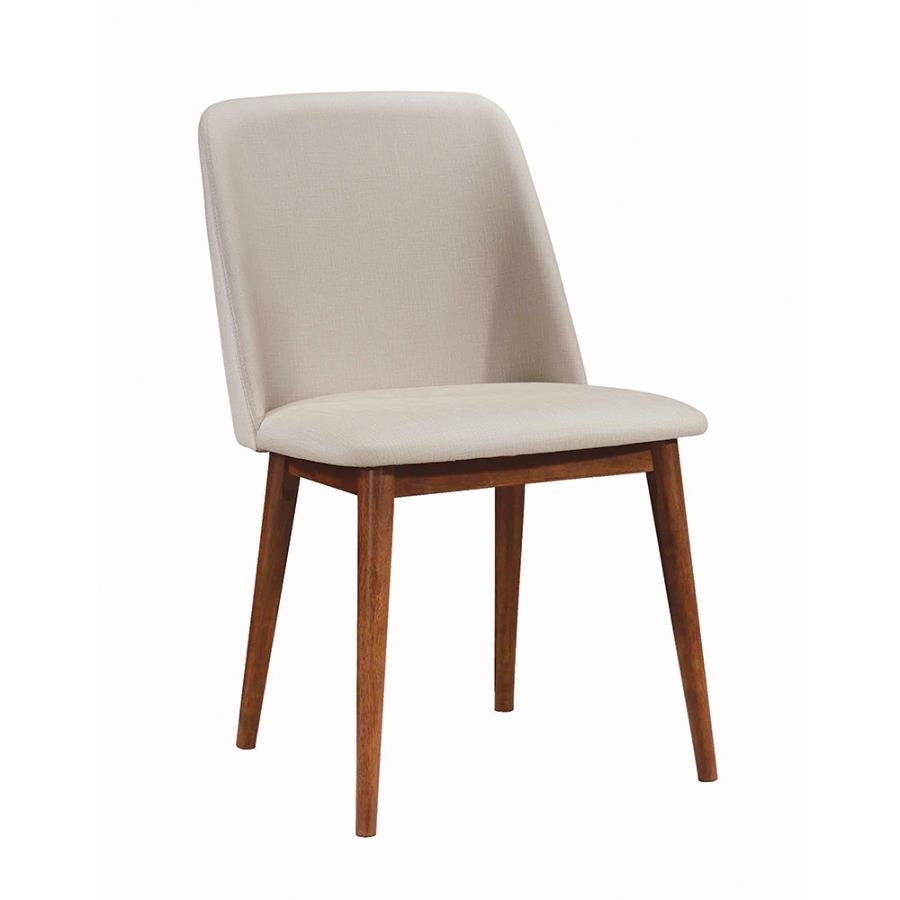 Tan Leatherette Side Chair Angle