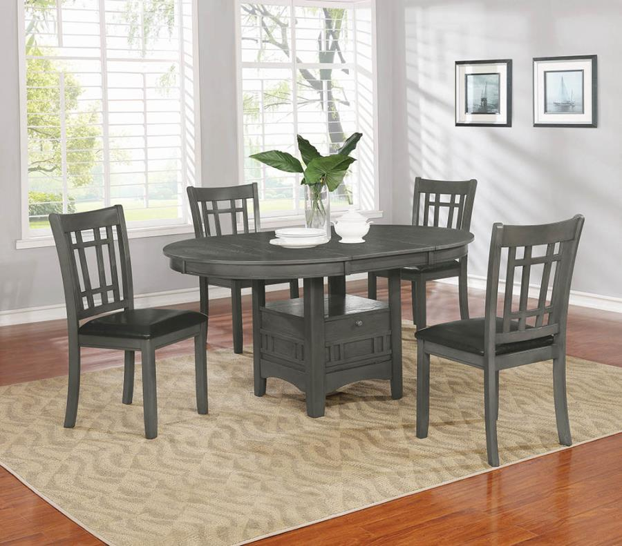 Lavon Transitional Style Dining Table With Extension Leaf