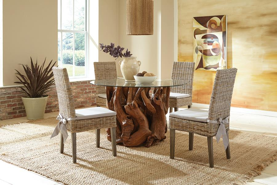 Complete Dining Set w/ Kubu Woven Side Chairs