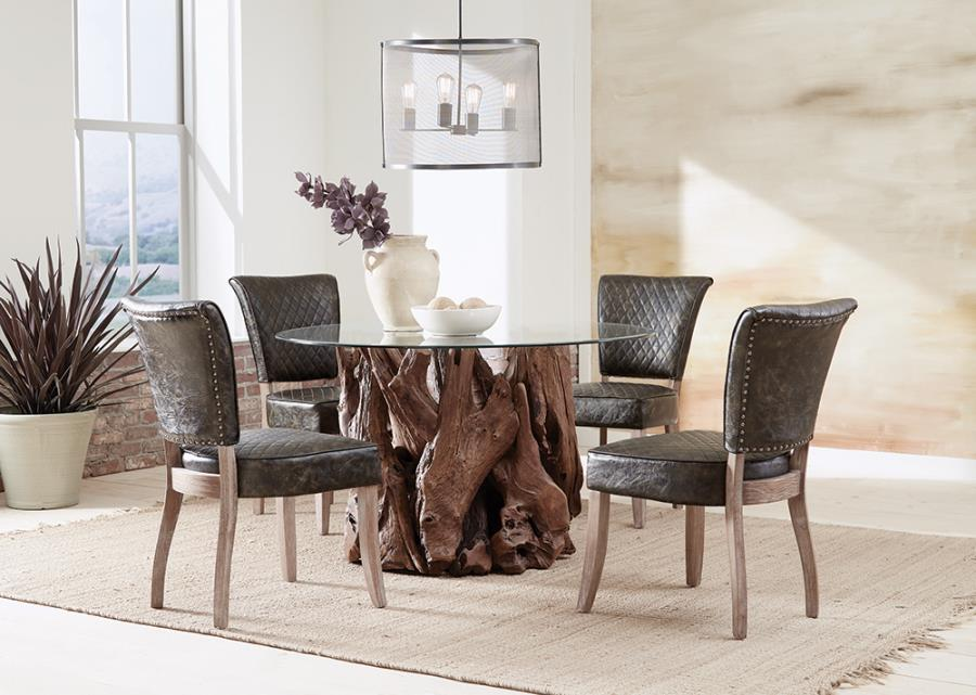 Complete Dining Set w/ Nailhead Trim Side Chairs