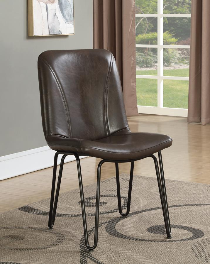 Brown Leatherette Side Chair