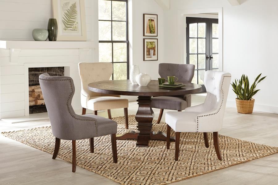 Complete Dining Table Set w/ Nailhead Trim Chairs