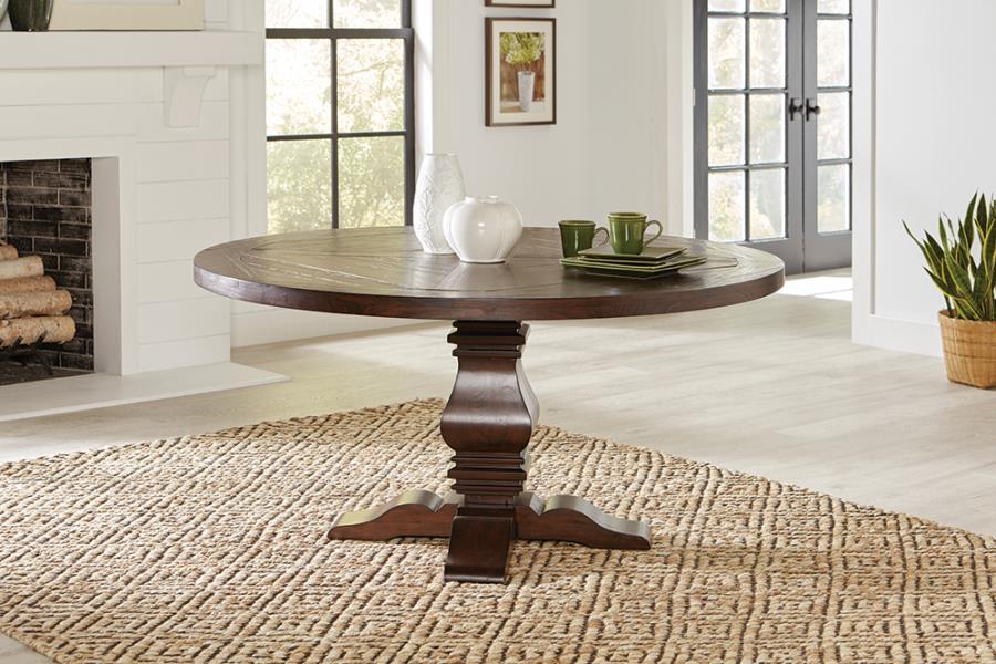 Rustic Brown Circular Dining Table