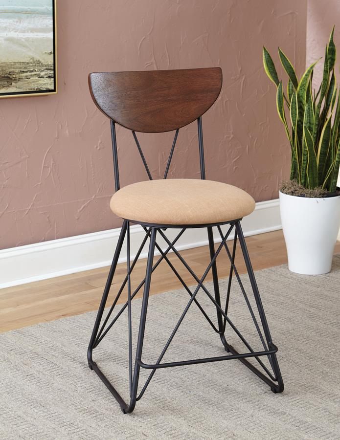 Gold Linen-Like Fabric Counter Height Stool