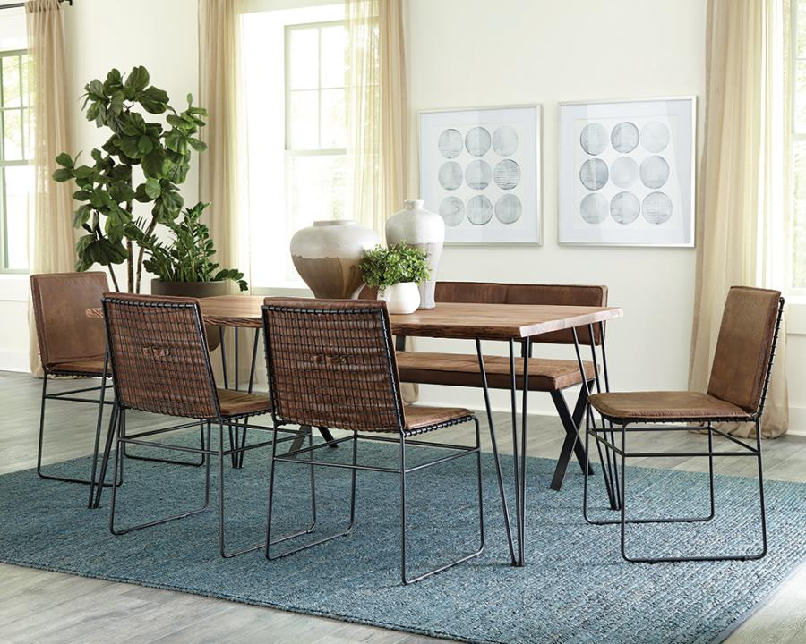 Complete Dining Table Set w/ Pressed Fabric Side Chairs