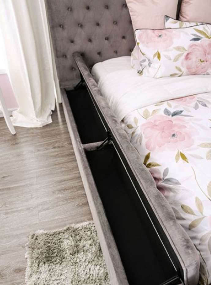 Gray Bed Side Storage