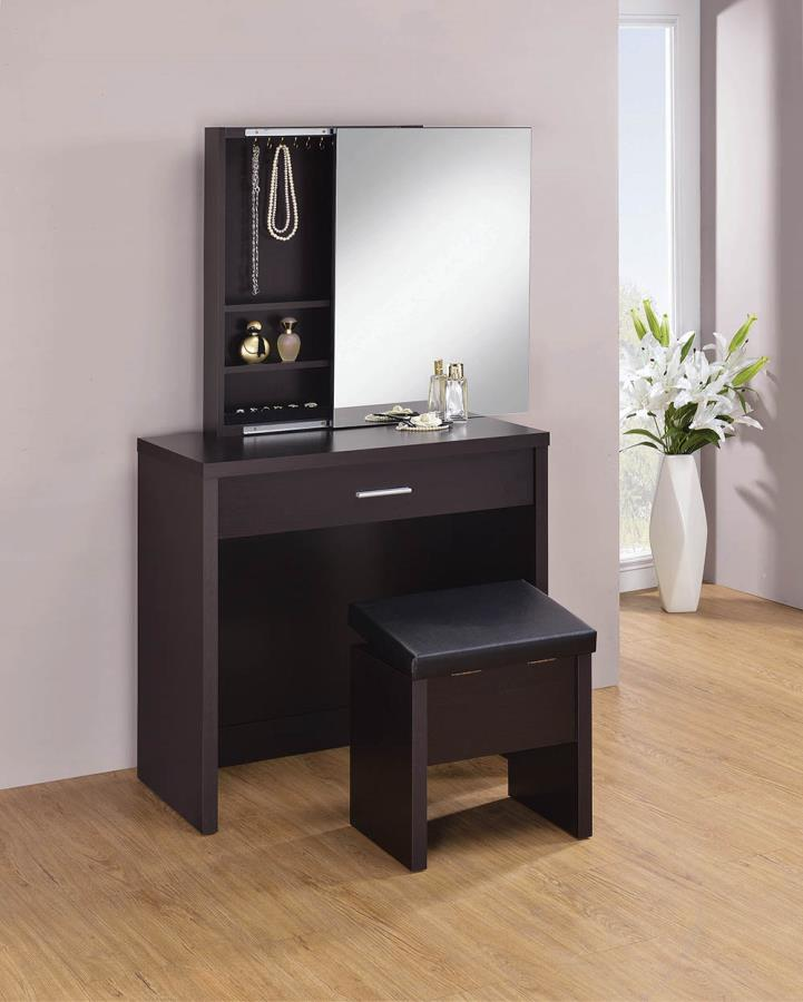 Cappuccino 3 Piece Vanity Set w/ Sliding Mirror