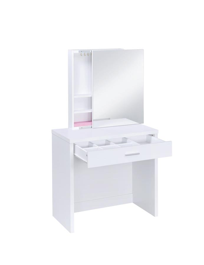 White 3 Piece Vanity Set w/ Sliding Mirror