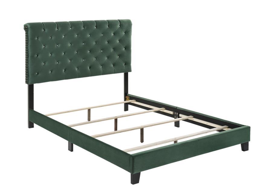 Green Velvet Upholstered Bed Frame