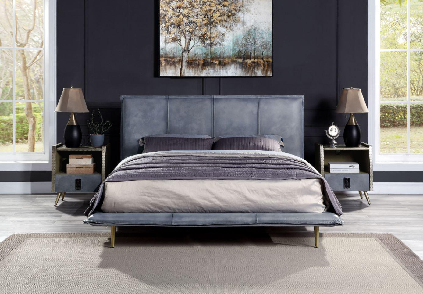 Gray Bed w/ Nightstands