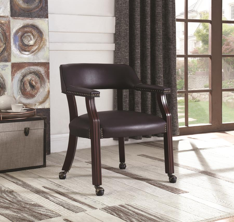 Burgundy Leatherette Rolling Chair