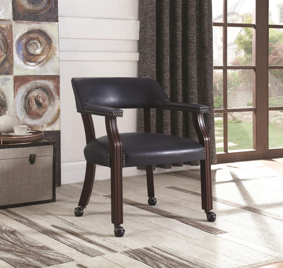 Blue Leatherette Rolling Chair