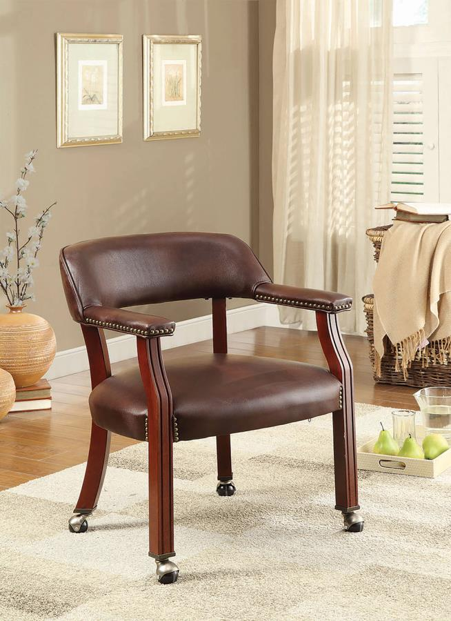 Brown Leatherette Rolling Chair