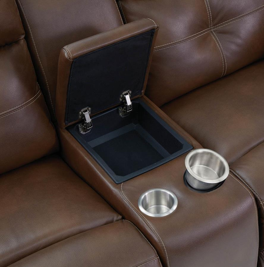 Soft-Closing Lift Top Storage Console Opened w/ Removable Stainless Steel Cup Holders