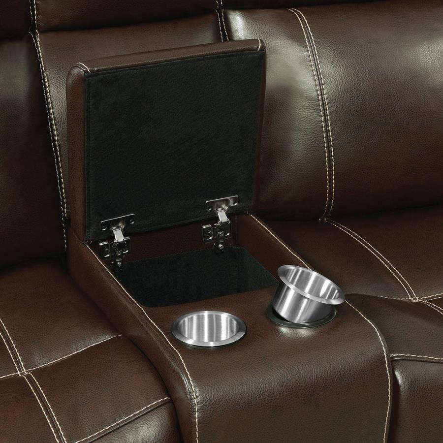 Console in Loveseat w/ Soft-Closing Lift Top Storage and Removable Stainless Steel Cup Holders