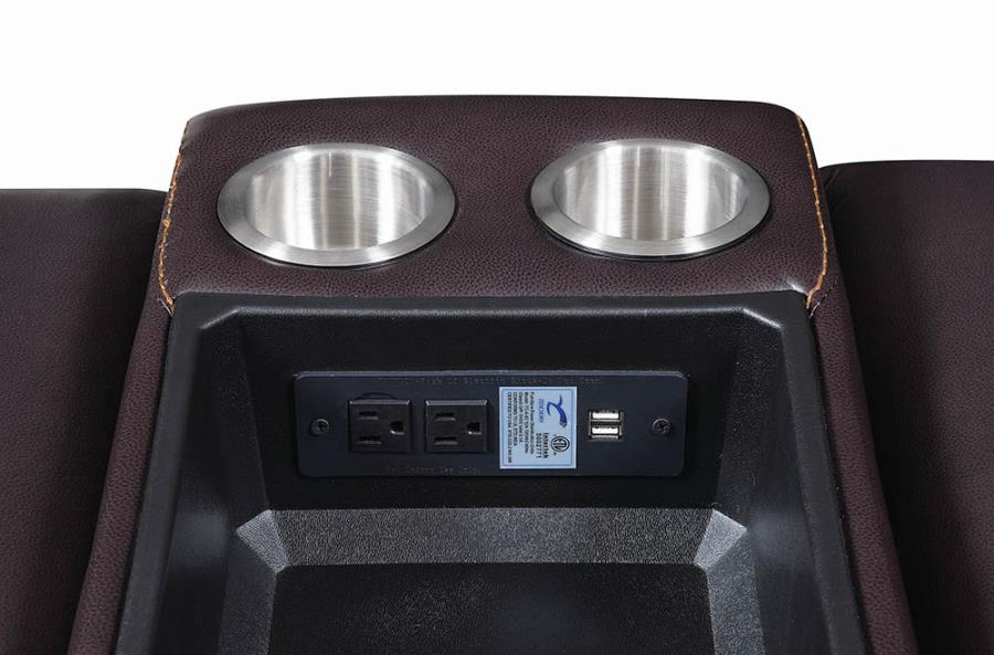 Console Soft-Closing Lift Top Storage w/ Power Up and USB Ports