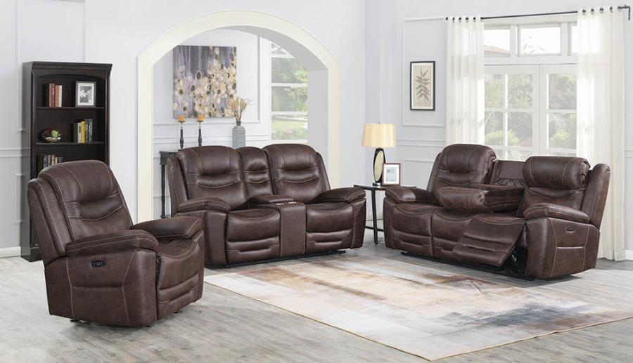 Chocolate Complete Power Motion Reclining Sofa Set