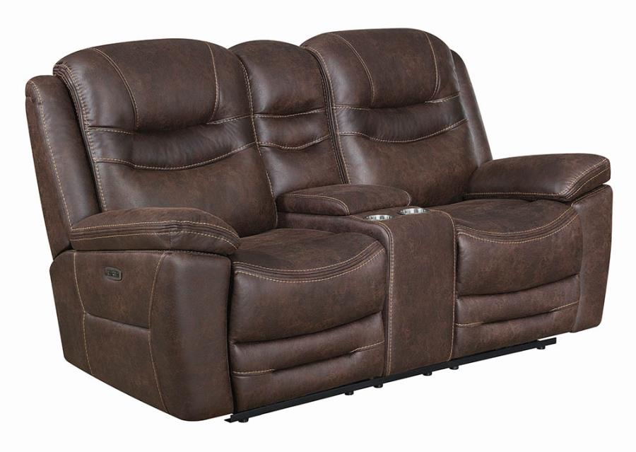 Chocolate Power Motion Reclining Loveseat