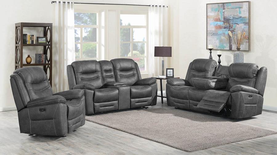Dark Grey Complete Power Motion Reclining Sofa Set