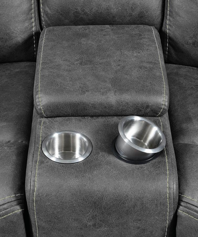 Middle Console on Loveseat w/ Removable Stainless Steel Cup Holders