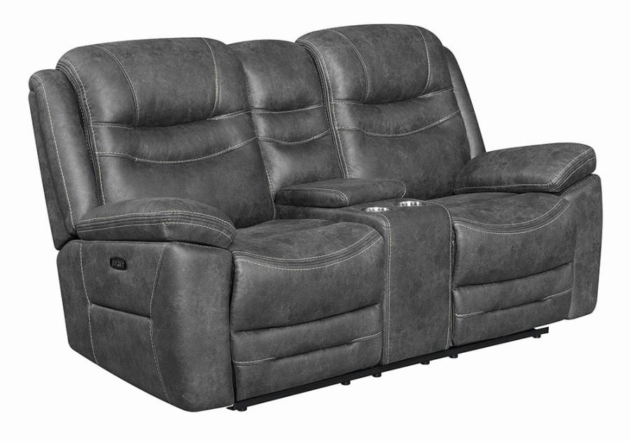 Dark Grey Power Motion Reclining Loveseat
