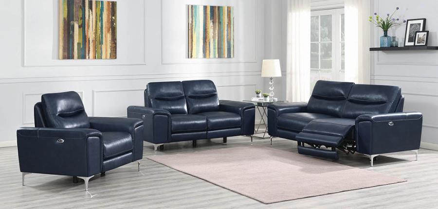 Ink Blue Complete Power Motion Sofa Set