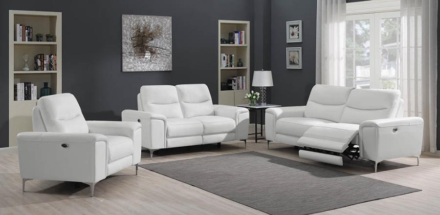 White Complete Power Motion Sofa Set