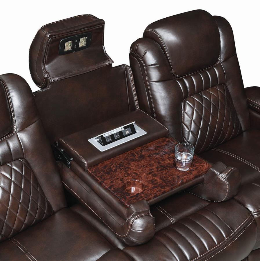 Drop Down Console w/ Headrest LED Reading Light and Cup Holders