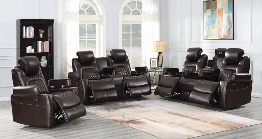 Espresso Complete Power Motion Reclining Sofa Set