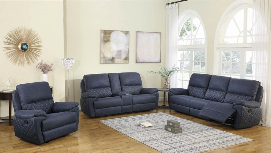 Sofa, Loveseat w/ Console, and Glider Recliner