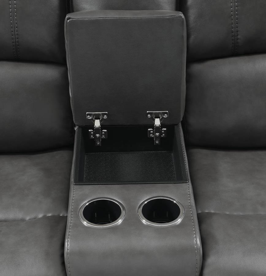 Console in Loveseat w/ Soft-Closing Lift Top Storage and Cup Holders