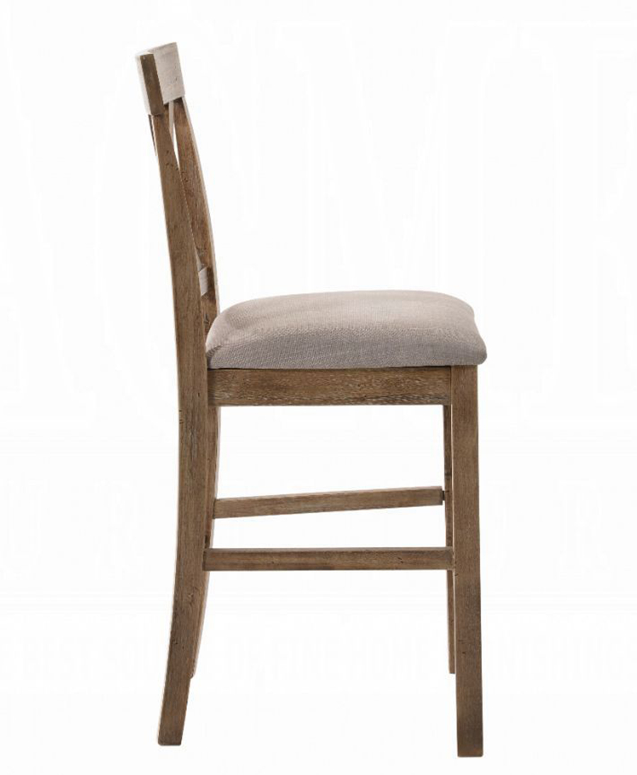 Weathered Oak Counter Height Chair Side