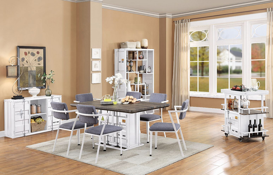 White Complete Dining Table Set