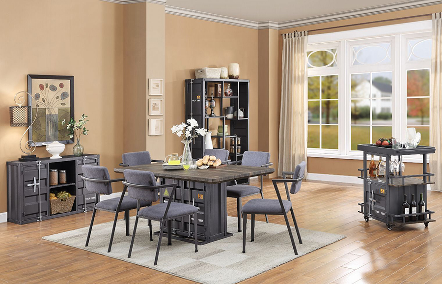 Gunmetal Complete Dining Table Set