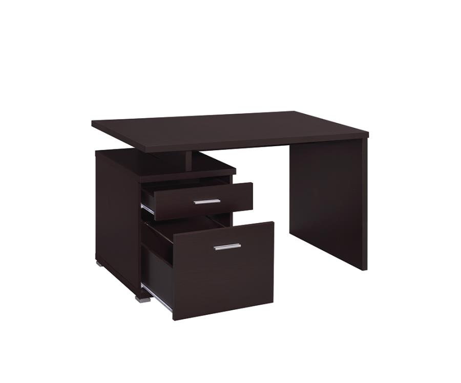 Cappuccino Office Desk with File Cabinet on the Left and Drawers Opened