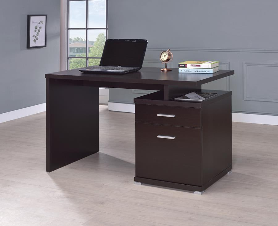 Cappuccino Office Desk with File Cabinet on the Right