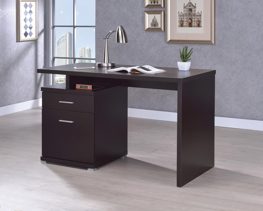 Cappuccino Office Desk with File Cabinet on the Left