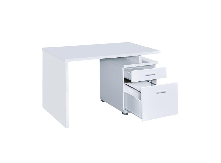 White Office Desk with File Cabinet on the Right and Drawers Opened