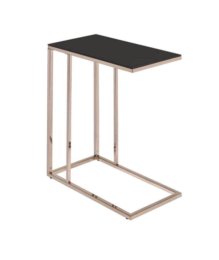 Black Glass Top Accent Table Angle