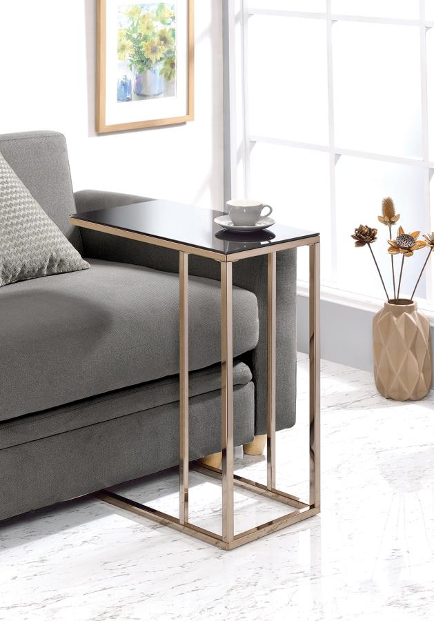 Black Glass Top Accent Table