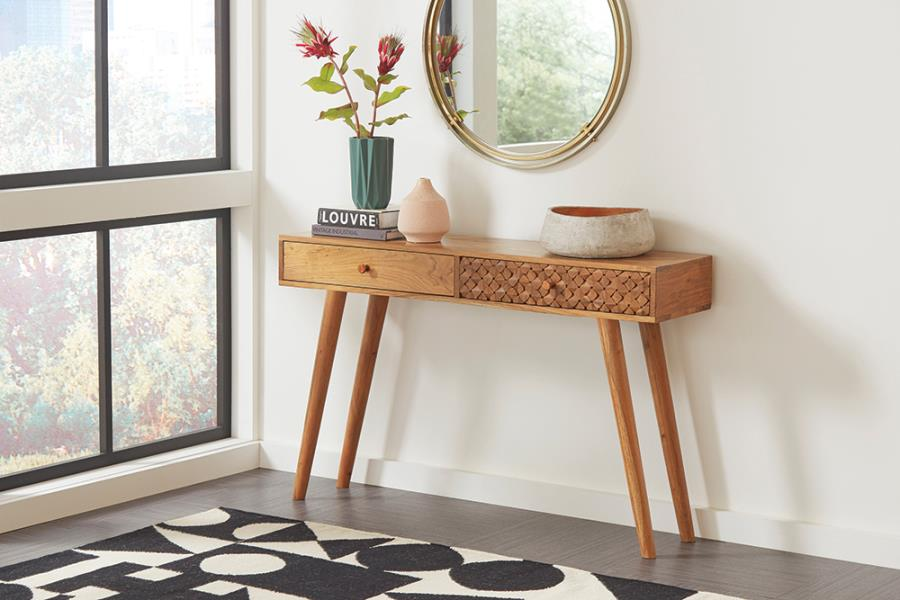 Mid Century Console Table In Natural Brown Finish