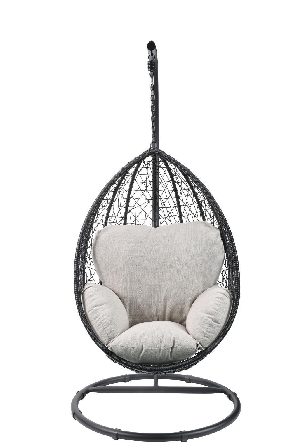 Black Wicker Patio Swing Chair Front