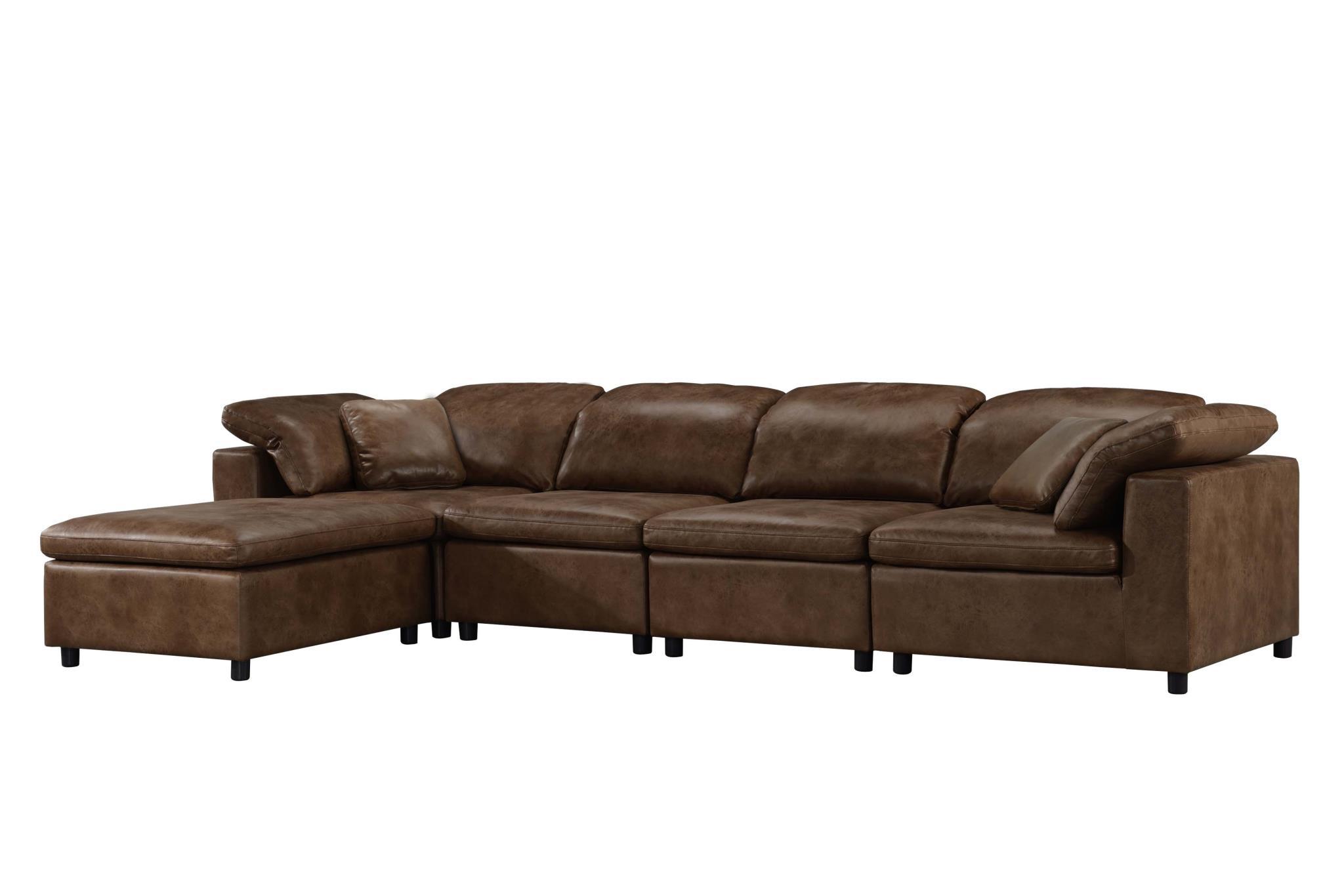 2-Tone Mocha Sectional Sofa Angle