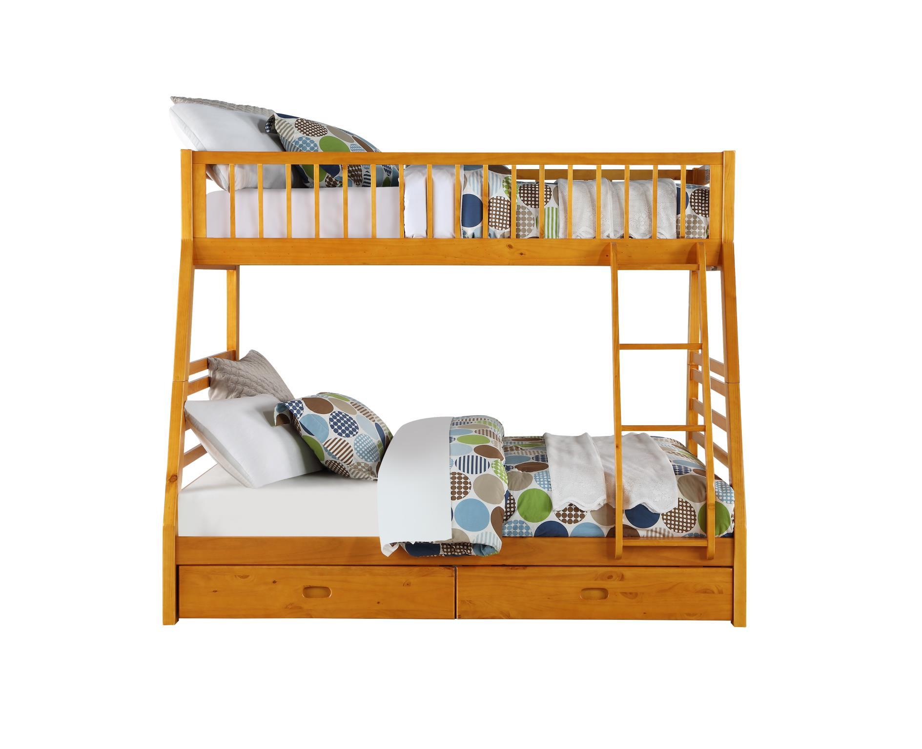 Honey Oak Twin/Full Bunk Bed Front
